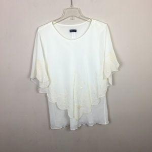 C.O.C. Cream embellished cape blouse